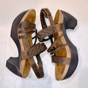 NAOT Brown Comfort Leather Platform Sandals SZ 7